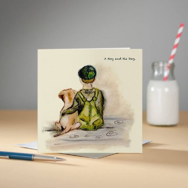 A Boy and His Dog Greeting Card by Claire Louise